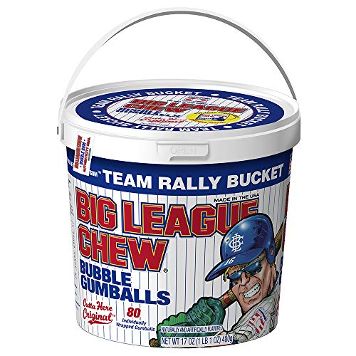 Big League Chew - Original Bubble Gum Flavor + 80pcs Individually Wrapped Gumballs + Baseball Team Rally Bucket + For Games, Concessions, Picnics & Parties