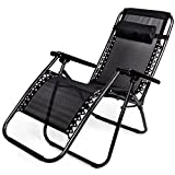 Zero Gravity Outdoor Folding Lounge Chair with Pillow, Black