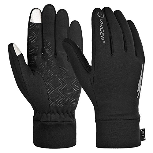 Vbiger Men Women Winter Warm Gloves Professional Touch Screen Gloves Sport Gloves Running Cycling Gloves (M, Black)