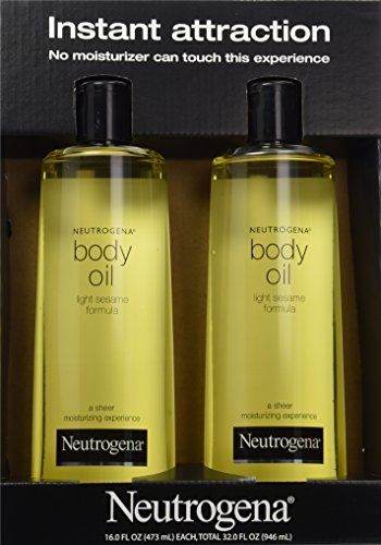 2 Pack of Neutrogena Body Oil Light Sesame Formula, 2 – 16 fl. oz bottles, Total of 32 fl. oz.