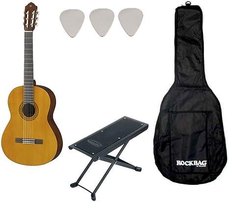 Yamaha C40 - Lote de guitarra clásica, funda y reposapiés: Amazon ...