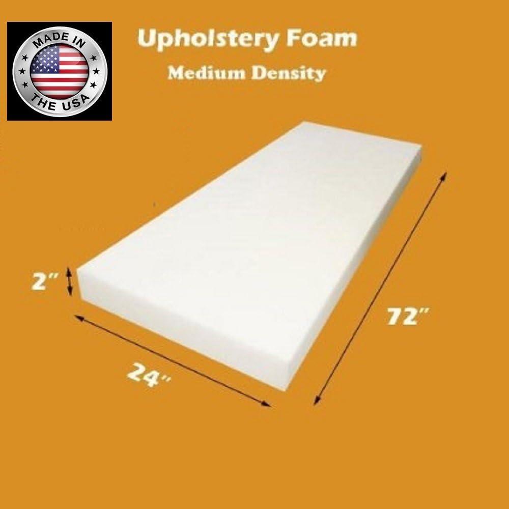 "FoamTouch Upholstery Foam Cushion Medium Density, Made in USA, 2"" L x 24"" W x 72"" H"