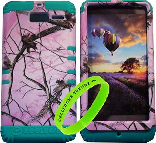 Cellphone Trendz Hybrid Rocker Case for Motorola DROID RAZR M (XT907, 4G LTE, Verizon) - Teal Silicone with Hard Hunter Series Pink Camo Real Oak Tree Case