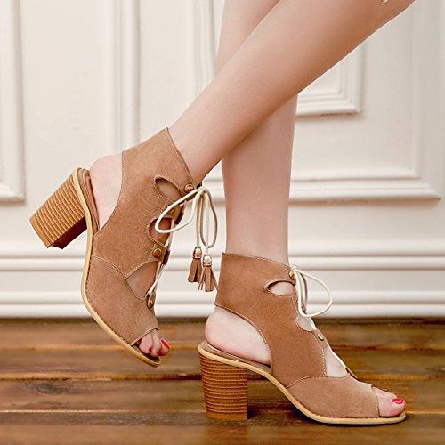 AIYOUMEI Damen Peep Toe Blockabsatz Römersandalen mit Schnürung und 8cm Absatz Pumps Schuhe Aprikose