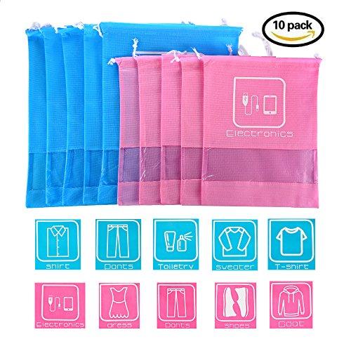 10 Pack No-Woven Dual Drawstring Organizer Bags, Shoe Bags, Toiletry Bags by RUIYOU
