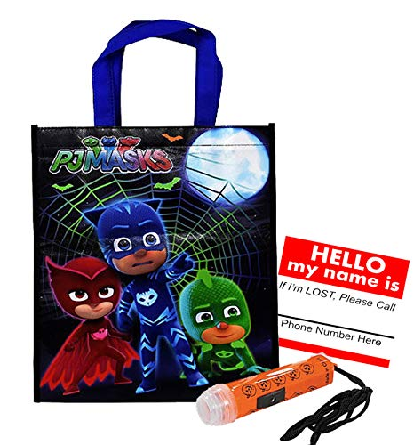 Pj Masks Reusable Medium Sized Halloween Trick Treat Candy Loot Bag!! Plus Safety First Sticker & Mini Halloween Flashlight Necklace! ()