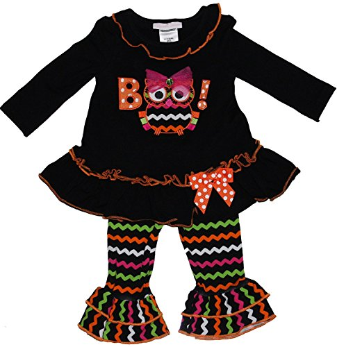 Bonnie Jean Girls Halloween Owl Boo Dress Legging Outfit, Black (5) -