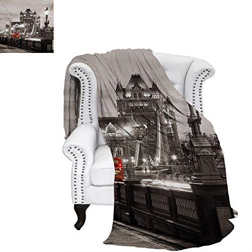 warmfamily Black and White Velvet Plush Throw Blanket London Theme Tower Bridge in The Famous City Urban Life Scenery Europe Throw Blanket 50