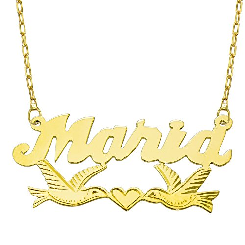 14K Yellow Gold Personalized Name Plate Necklace - Style 11 (18 Inches, Oval Rolo Chain) 14k Yellow Gold Nameplate