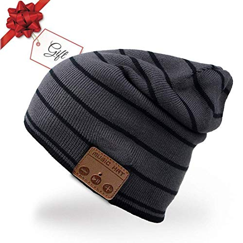 Bluetooth Hat,Bluetooth 4.0 Beanie Warm Knitted Hat Wireless Hands-Free Headset Built-in Mic&Speaker From ChenFec-Gray ...