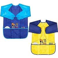 Paquete de 2 delantales artísticos para niños, delantales impermeables para niños de pintura de artista de manga larga con 3 bolsillos para edades de 2 a 6 años