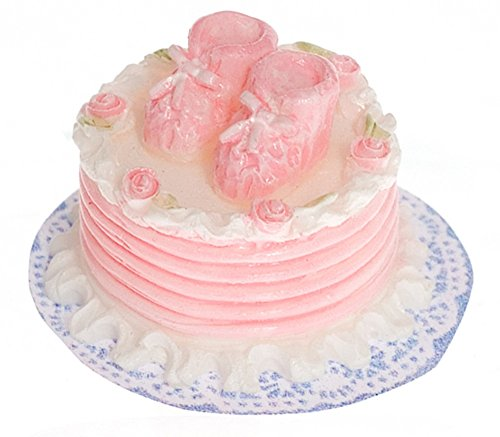 Dollhouse Miniature Half Scale Decorated Pink Roses Cake