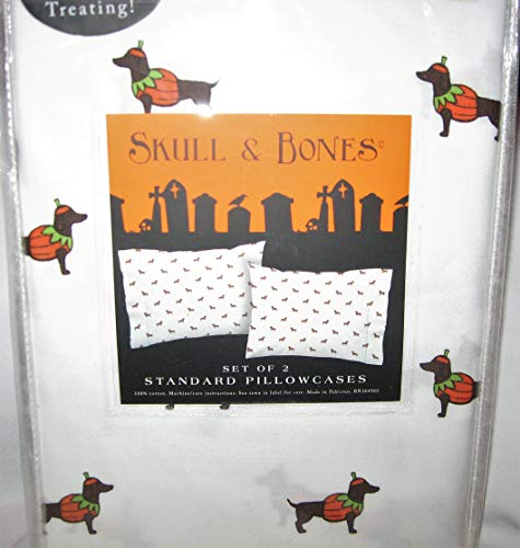 Skull and Bones Set of 2 Pillowcases - Dachshunds in Pumpkin Halloween Costumes ()