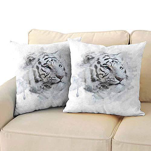 FCIEBP Animal Pillowcase Travel Size Artistic Portrait of a White Tiger Wild Nature Predator Watercolor Splashes W20xL20 Black Grey White