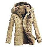 Nevera Men's Winter Casual Warm Thicken Cotton Padded Buttont Zipper Hooded Jacket Coat with Pocket