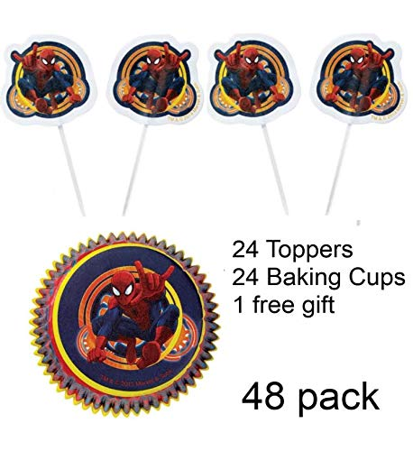 Toy Explorer Party Combo w/24 Spider Man Cupcake Topper & 24 Cupcake Liners with 1 FREE Glow Bracelet -The Toy Explorer Brand -