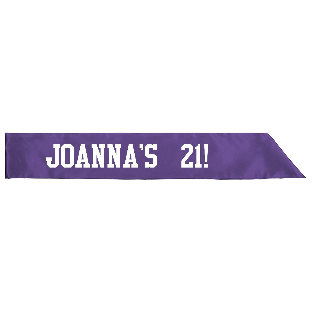 Amazon com: JOANNA'S 21st Birthday Sash: Adult Satin Party