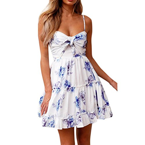 XILALU Womens Sexy Tie Knot Front Floral Ruffle Spaghetti Strap Camis Flowy Pleated Swing Summer Short Mini Dress