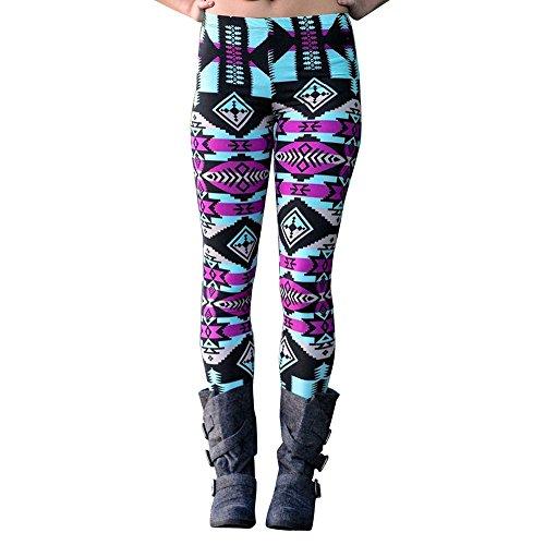 Clearance ZEFOTIM Casual Women Lady Skinny Geometric Print Stretchy Jegging Pants Slim Leggings (L,Multicolor)