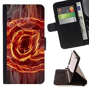 BullDog Case - FOR/Samsung Galaxy Core Prime / - / Flaming @ at Sign /- Monedero de cuero de la PU Llevar cubierta de la caja con el ID Credit Card Slots Flip funda de cuer