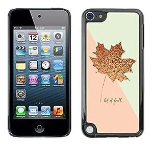 "Pulsar Snap-on Series Teléfono Carcasa Funda Case Caso para Apple iPod Touch 5 , Pink Gold Maple Leaf caída del otoño Glitter"""