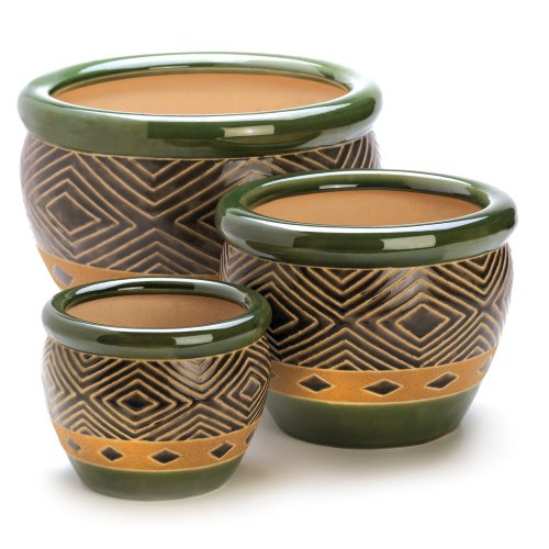 Gifts U0026 Decor Ceramic Jade Garden Planters Flower Plant Pot Set, 3 Piece