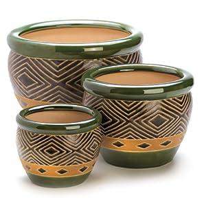 Amazon Com Gifts Amp Decor Ceramic Jade Garden Planters