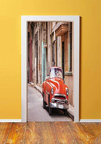 - Cars 3D Door Sticker Wall Decals Mural Wallpaper,Classical American Car in a Street with Ancient Houses Caribbeans Havana Cuba,DIY Art Home Decor Poster Decoration 30.3x78.6557,Orange Sand Brown
