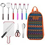 10-Piece Camping Kitchen Utensils Set| CHANODUG Camping Cookware Utensils For Travel Kitchen,Camping Kitchen Set with Hot dog marshmallow forks