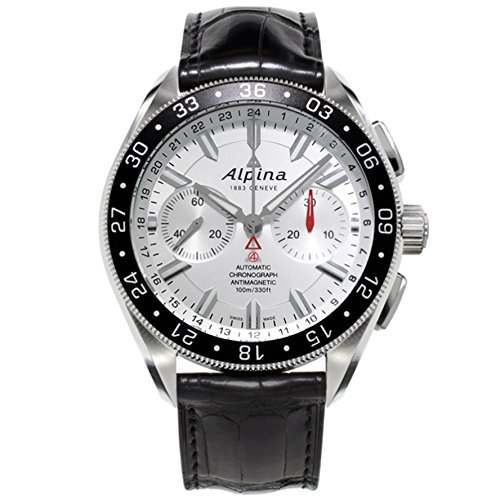 Alpina Alpiner 4 Chronograph AL860S5AQ6 44mm Automatic Stainless Steel Case Black Calfskin Anti-Reflective Sapphire Men's Watch