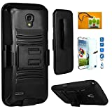 Galaxy S4, Straight Talk Samsung Galaxy S4 S975L LTE , LF Hybrid Armor Stand Case with Holster and Locking Belt Clip, with Tempered Glass Screen Protector & Wiper (Holster Black)