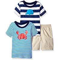 Gerber Baby Boys' 3 Piece Shirt and Short Playwear Set, Whale, Newborn