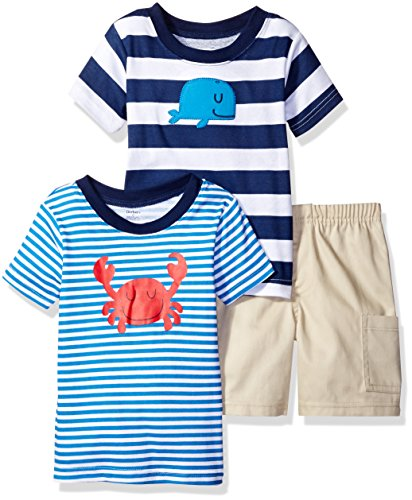 Amazon.com: Gerber Boys' 3 Piece Shirt And Short Playwear Set ...