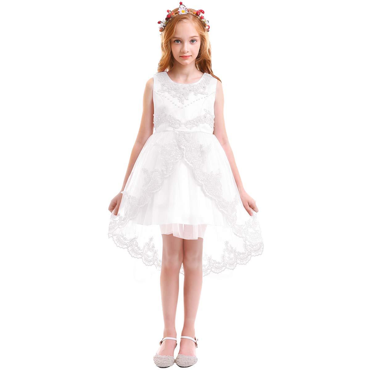 2018 Hi-Lo Princess Pageant Wedding Communion Party Prom Flower Girls Dress New