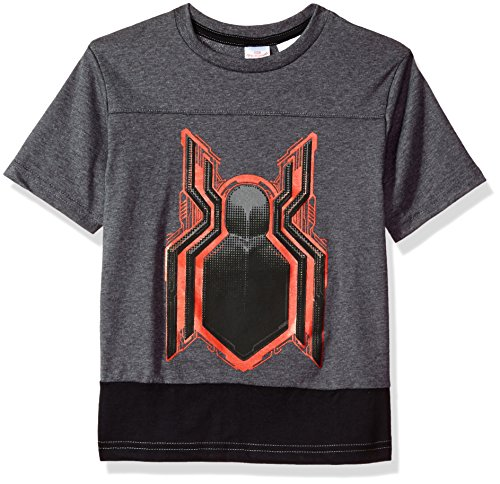 Marvel Big Boys' Glow In The Dark Spiderman Logo T-shirt, Gray, 10/12