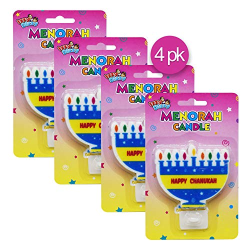 Izzy 'n' Dizzy Menorah Shaped Candle with Stand - 4 Pack - Hanukkah Party Decorations and Supplies -