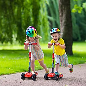 UHINOOS Kids Kick Scooter, Durable Stable Kick Scooter Flashing PU Wheels Adjustable Height Kids Scooter- Easy to use, Foldable and No Assembly Required