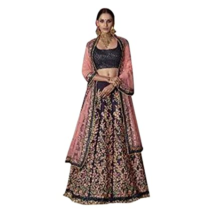 3a05c2a9b5 Image Unavailable. Image not available for. Color: Blue Royal Silk Bridal  Zari Hand Work Wedding Semi Stitched Heavy Lehenga Chaniya Choli Dupatta  Muslim