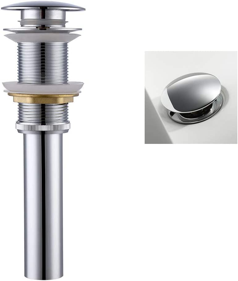 Round Pop Up Drain Stopper Assembly Plug without Overflow for Bathroom Kitchen Faucet Vessel Wash Basin Vanity Lavatory Sink Waste Water Tank Polished Chrome (SQ01)