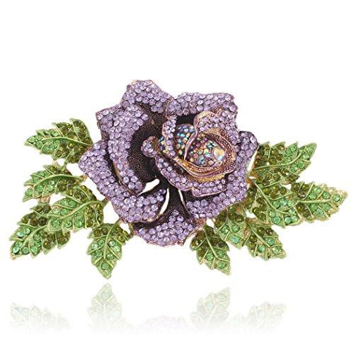 EVER FAITH Women's Austrian Crystal Party 5.9 Inch Rose Flower Leaf Brooch Purple Gold-Tone