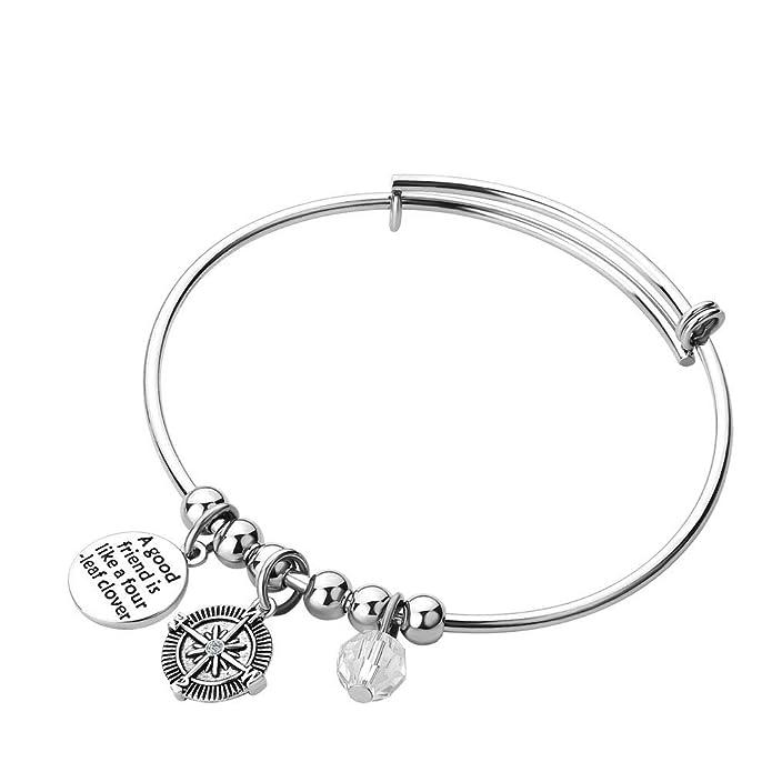 1efa88738812e Amazon.com: JewelryJo BFF Friends Life Compass Adjustable Engraved ...