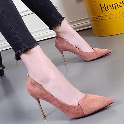 Talons Bon Petite Des À Korean KHSKX Sont Match Pink Chaussures Documentaire Bouche En Daim Toutes Hauts Profession Femmes Souliers De Pointues Chaussure Les xwnwZOICq0