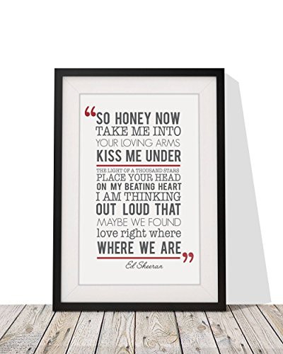 Ed Sheeran Thinking Out Loud Song Lyrics Framed A4 Print And 12x10 Glazed Frame With Mount Gift Valentines Day Anniversary Wedding Design 2 (Out Lyrics Thinking Loud)
