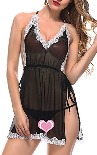 BMAKA Lace Babydoll Sleepwear Halter Nightwear Sexy Lingerie Outfits (Sexiest Plus Size Outfits)