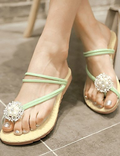 ShangYi Women's Shoes Heel Flip Flops Sandals Outdoor / Dress / Casual Black / Green / Pink / White Green