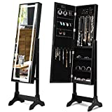 Giantex Mirrored Jewelry Cabinet Standing Jewelry Armoire w/Touch Screen LED Light Storage Organizer for Rings Earrings Necklace Bracelet 4 Adjustable Positions (Black)