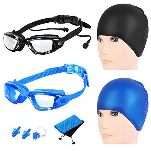 2 Packs Swim Goggles + Swim Caps + Nose Clip + Earplugs + Mesh Pouches, SiFree NO Hurt Nose NO Leaking Anti Fog UV Protection Swimming Glasses & Swim Gear for Women Men Kids Girls Boys