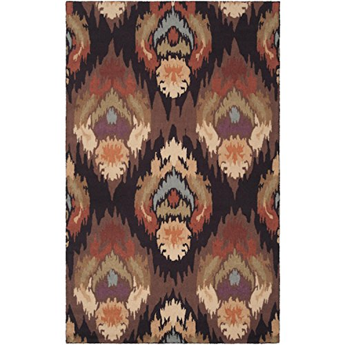 Diva At Home 2' x 2.75' Adobe Flame Dark Pecan, Cumin and Espresso Hand Hooked Area Throw Rug