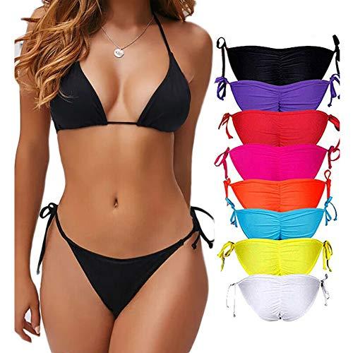(COLO Women Bikinis Bottoms Adjustable Ruched Butt Back Ruffle Cheeky Thong Underwear m )