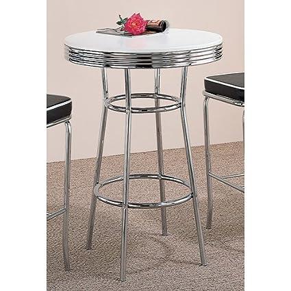 Coaster 50u0027s Soda Fountain White Contemporary Round Bar Table With Chrome  Pedestal